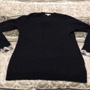 Burberry Black V neck Sweater sz L (needs repair)